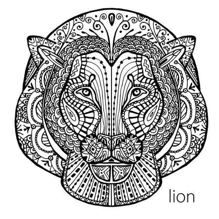 Le lion noir et blanc imprimer avec des motifs ethniques. Coloriage livre pour adultes antistress. Art-thérapie, zenart, meditaion. L'image sur le tissu, tatouage, vecteur
