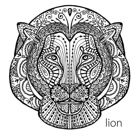 meditaion: The black and white lion print with ethnic patterns. Coloring book for adults antistress. Art therapy, zenart, meditaion. The image on the fabric, tattoo, vector