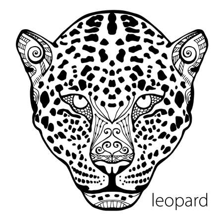 wildcat: The black and white leopard print with ethnic patterns. Coloring book for adults antistress. Art therapy, zenart, meditaion. The image on the fabric, tattoo, vector