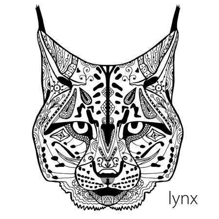 The black and white lynx print with ethnic patterns. Coloring book for adults antistress. Art therapy, zenart, meditaion. The image on the fabric, tattoo, vector 일러스트