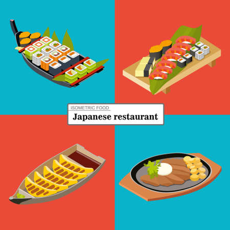 First set of four Japanese dishes, flat isomeric illustration, sushi and rolls, isometric sushi set, fried pellets, fried meat with potatoes