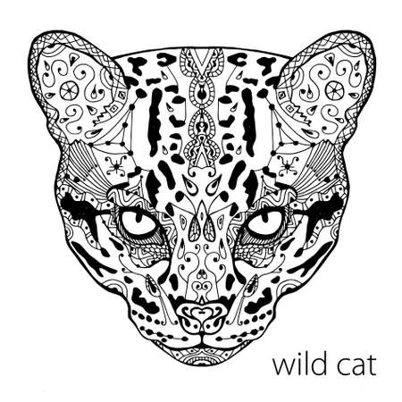 meditaion: The black and white wild cat print with ethnic patterns. Coloring book for adults antistress. Art therapy, zenart, meditaion. The image on the fabric, tattoo, vector