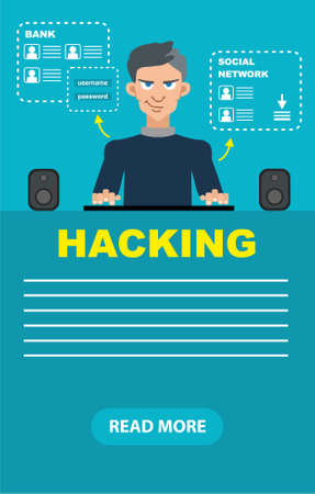 threat: Flat style hacker attack intruding laptop computer internet web system crack password security concept web infographics vector illustration.
