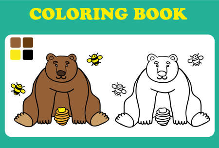book pages: Vector illustration, cute bear with bees and honey, card concept, white background coloring book for children, coloring book pages