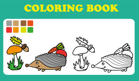 for children: Coloring Book or Page Cartoon Illustration of Funny hedgehog, coloring book for children, vector, colorin book pages