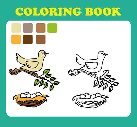 Coloring Book ou page Cartoon Illustration drôle d'oiseau avec nid. livre de coloriage pour les enfants, les pages du livre de coloriage