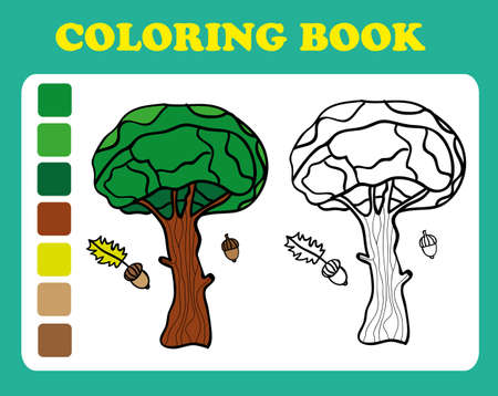 book pages: Coloring Book or Page Cartoon Illustration of oak. Coloring book for children, coloring book pages