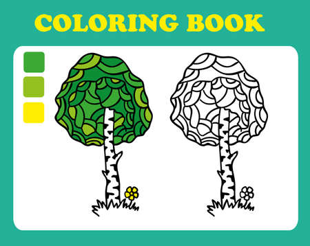 book pages: Coloring Book or Page Cartoon Illustration of birch. Coloring book for children, coloring book pages