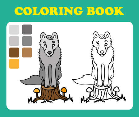 wolf couple: Vector illustration, cute a wolf sitting on a stump, card concept, white background. Coloring book for children, coloring book pages