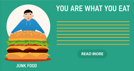 too much: You are what you eat illustration, young fat guy ate too much burgers and lost health Illustration