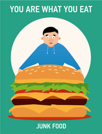 You are what you eat illustration, young fat guy ate too much burgers and lost health, junk food