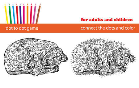 mind games: Dot to dot game. Coloring and dot to dot educational game for adults and kids. Cartoon character.