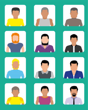 nationalities: Avatars of men of different nationalities, hair and shapes of faces, icons users. The style flat. Set of icons