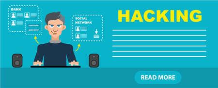 intruding: Flat style hacker attack intruding laptop computer internet web system crack password security concept web infographics illustration. Illustration