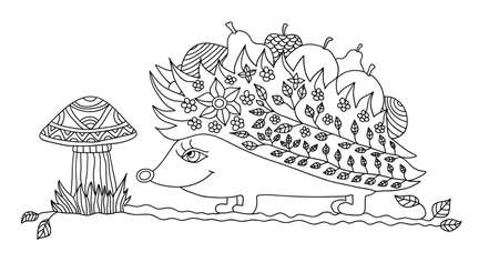 adults: Coloring page for adults - hedgehog Illustration