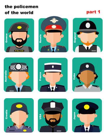 set di icone Avatar agenti di polizia provenienti da tutto il mondo Vettoriali