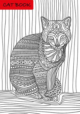 Il libro di Cat. modelli di gatto dipinte. Illustrazione vettoriale in stile. Disegnata a mano elementi di design. Pagina per la colorazione. effetto shirt design,, tatuaggio e decorazione.