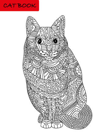Coloring cat page for adults. Sitting cat looking serious. illustration with ethnic patterns.