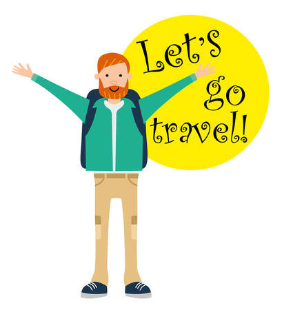 excess: Tourist travel character. Happy camper opened his arms from excess of emotion. Lets go travel. Motivation call. illustration. Flat