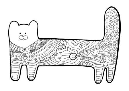 knitwear: Funny cat. Coloring book for adults. Black-and-white pattern with floral patterns. For tattoo design, t-shirts and knitwear. Isolated illustration. Illustration
