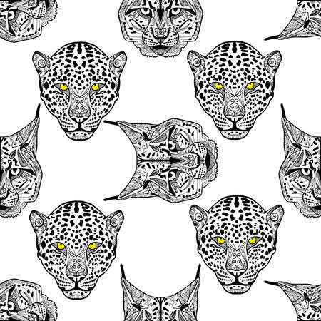 lynx: Detailed Cheetah and lynx portrait.illustration. Set of isolated drawing wild cats heads and faces some breeds. Black pattern on white background. Zenart Illustration
