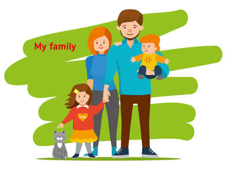 relative: Young family together and happy. Mom, dad, children and cat. illustration of a flat design