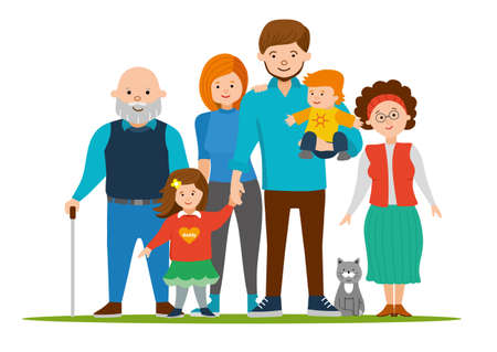 dad daughter: Happy and smile family together. Mom, dad, daughter, son, grandmother, grandfather and the cat.  illustration of a flat design. Parents with Children