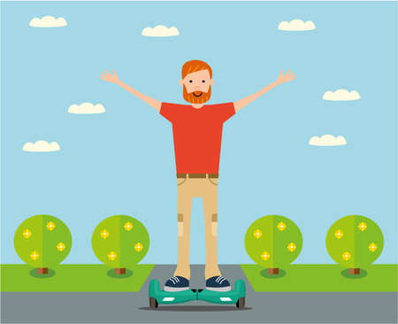 Lucky guy rides on a gyro scooter. Flat design. illustration.