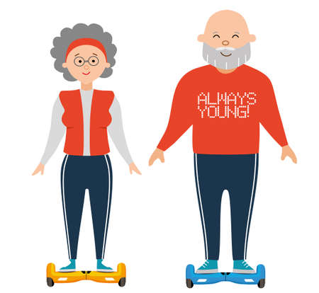 Always young. Grandma and grandpa ride the Giro scooter. Flat illustation for your design