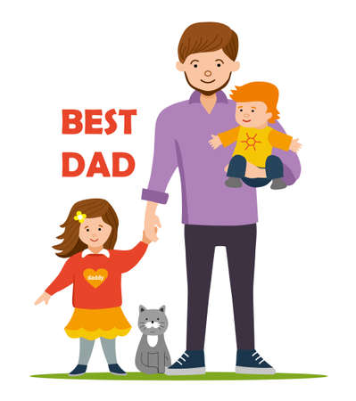 father and son holding hands: Best Dad for to daughter and son. Girl holding daddys hand, little brother in the hands of the father. Flat illustration.