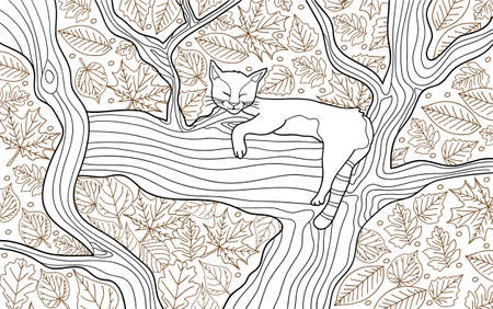 cat sleeping: Coloring animal book page for adults. Funny cat sleeping on the tree, framed by leaves, black and white graphics.