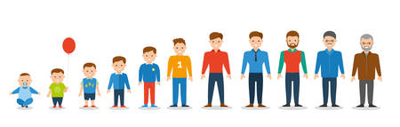 Generation of man from infants to juniors. all age categories. isolated on white background, stages of development, design illustration. Flat