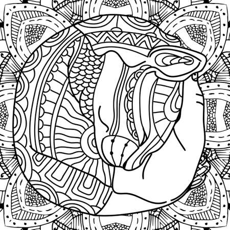counterpane: The cat in the arms. Coloring book page animal, with patterns. Zenart,  illustration. Coloring pages, coloring outline, line art coloring. Antistress illustartion Illustration