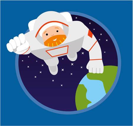 zero gravity: Astronaut flying forward. Illustration of Astronauts Floating in Space. Flat illustration Illustration