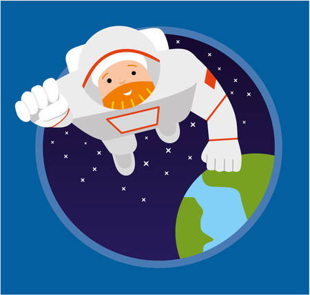 Astronaut flying forward. Illustration of Astronauts Floating in Space. Flat illustration Illustration