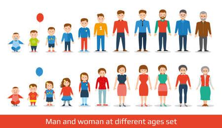 남자와 여자가 설정 노화. 다른 나이의 사람들의 세대. 아기, 아이, 십대, 젊은, 성인, 노인. 흰색 배경에 고립. 플랫 일러스트