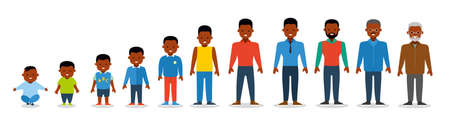 African american ethnic people generations at different ages. Man african american ethnic aging - baby, child, teenager, young, adult, old. Flat illustration Vettoriali