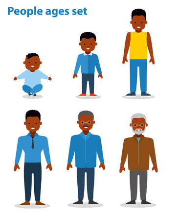 young adult: African american ethnic people generations at different ages. Man african american ethnic aging - baby, child, teenager, young, adult, old. Flat illustration Illustration