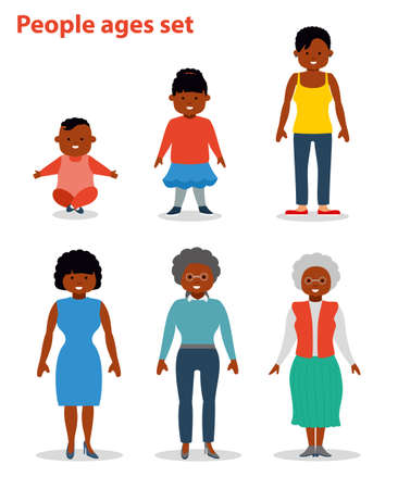 young adult: African american ethnic people generations at different ages. Woman african american ethnic aging - baby, child, teenager, young, adult, old. Flat illustration