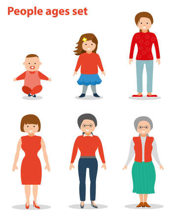 European female in different age categories. Woman generations at different ages. From baby to grandma. Flat illustration