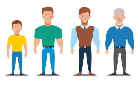 Cartoon characters showing age progress. All age group of european man. People Generations at different ages. Teenager, young, adult, old. Flat illustration Illustration