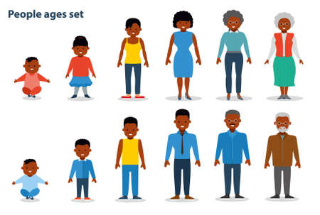 African american ethnic people generations at different ages. Woman and man african american ethnic aging - baby, child, teenager, young, adult, old. Flat illustration Vectores