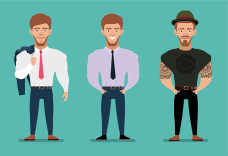 Cartoon Characters Guys : Handsome and stylish men set. cartoon guys male characters in