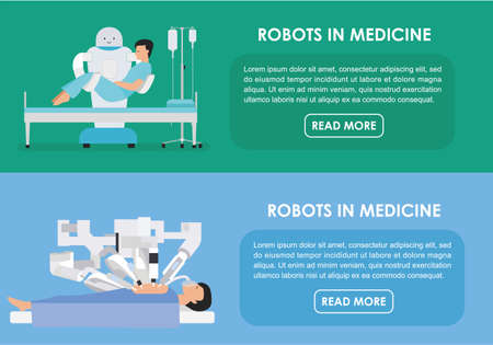 infirmary: Robotic surgery banners set of robot. illustration. Flat. Robots in medicine. Innovative medicine concept. Illustration