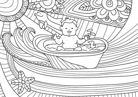 shilouette: Smiling baby takes a bath, fantasy with waves and dolphins. Line art design for coloring book fro adult, card and design elelment
