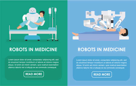anaesthesia: Robotic surgery banners set of robot. illustration. Flat. Robots in medicine. Innovative medicine concept. Illustration