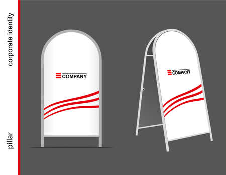 pillar box: Template for advertising and corporate identity. Advertising pillar. Mockup for design. Illustration
