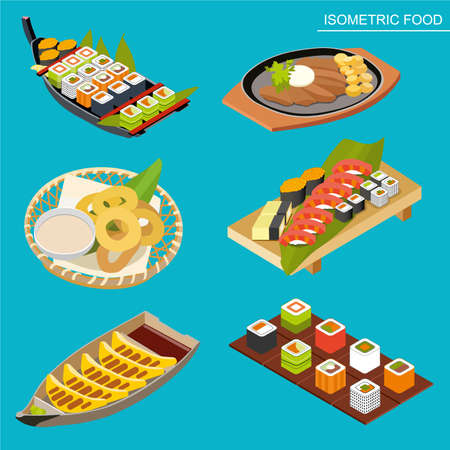 Isometric Japanese seafood set. Asian restaurant food. Flat illustration. Sushi in a wooden boat platter, seaweed maki rolls, baked squid, meat and potatoes, fried toast. Isometric food