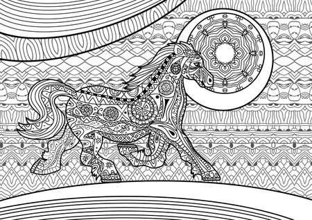 Coloring Book For Adults Running Horse On The Pattern Background Tribal Patterns