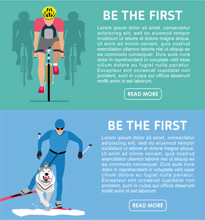 cross country: Two flat banners on the theme of sport. Be the first. Bike race and cross country skiing with the dog-husky, canicross. illustration Illustration